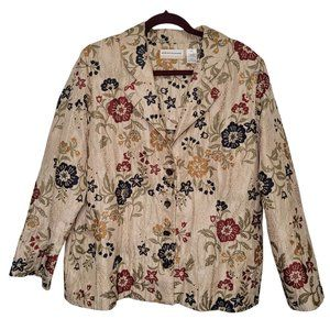 Alfred Dunner Tan Textured Floral Embroidered Blazer